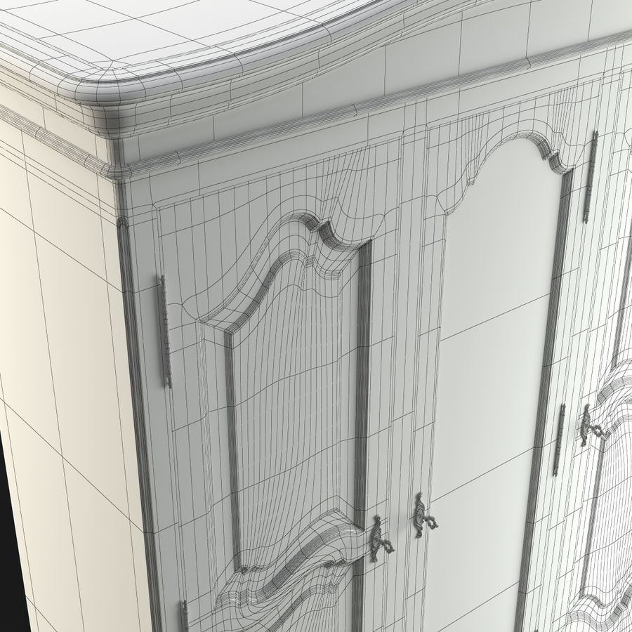 Üç Kapılı Armoire royalty-free 3d model - Preview no. 4