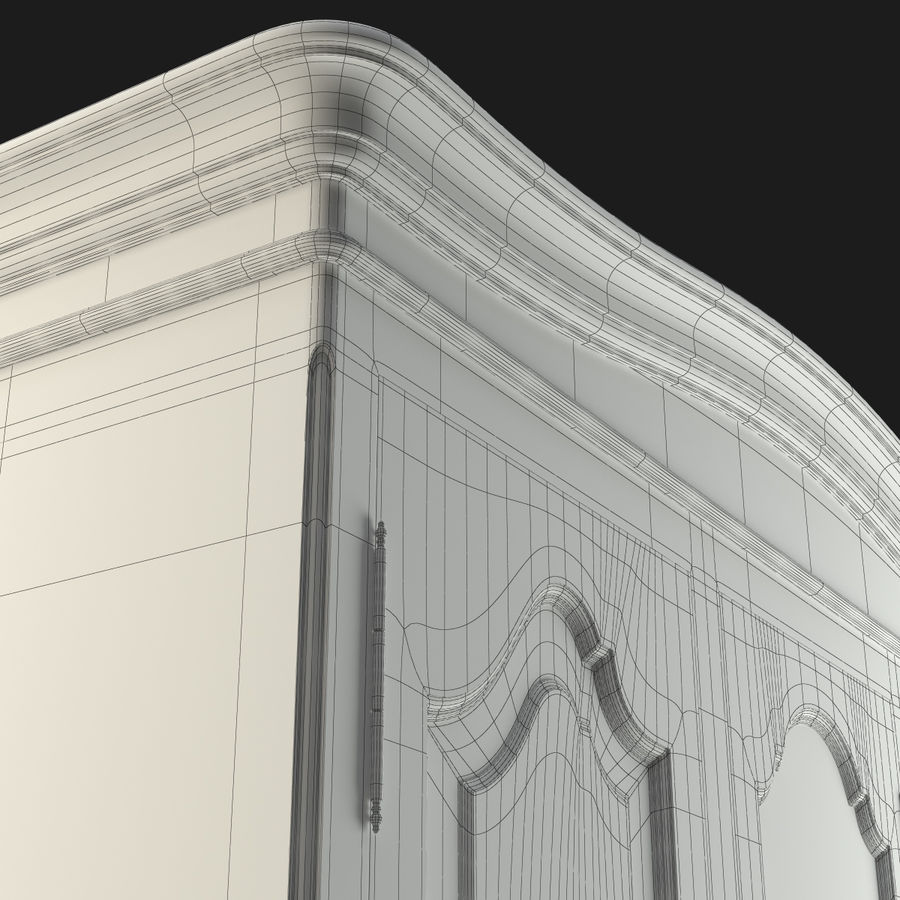 Üç Kapılı Armoire royalty-free 3d model - Preview no. 3