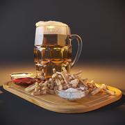 크래커와 소스와 맥주 3d model