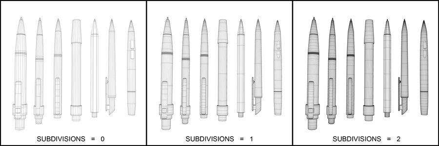 Kolekcja długopisów royalty-free 3d model - Preview no. 7