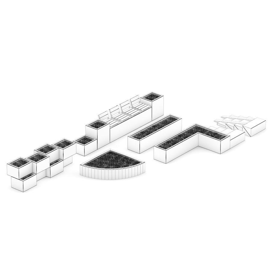 Park betonnen elementen instellen royalty-free 3d model - Preview no. 2