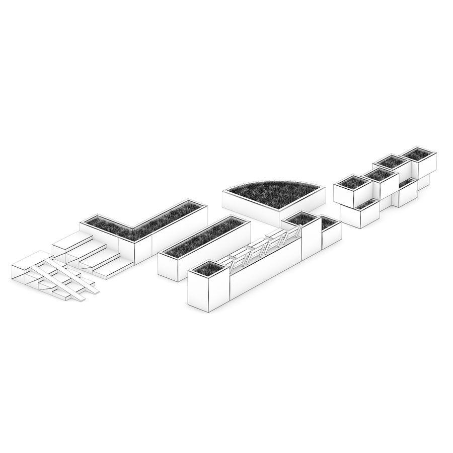 Park betonnen elementen instellen royalty-free 3d model - Preview no. 4