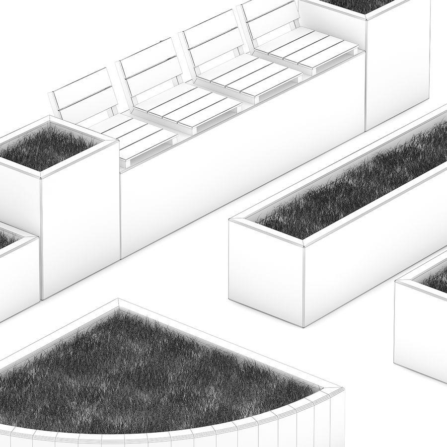 Park betonnen elementen instellen royalty-free 3d model - Preview no. 6
