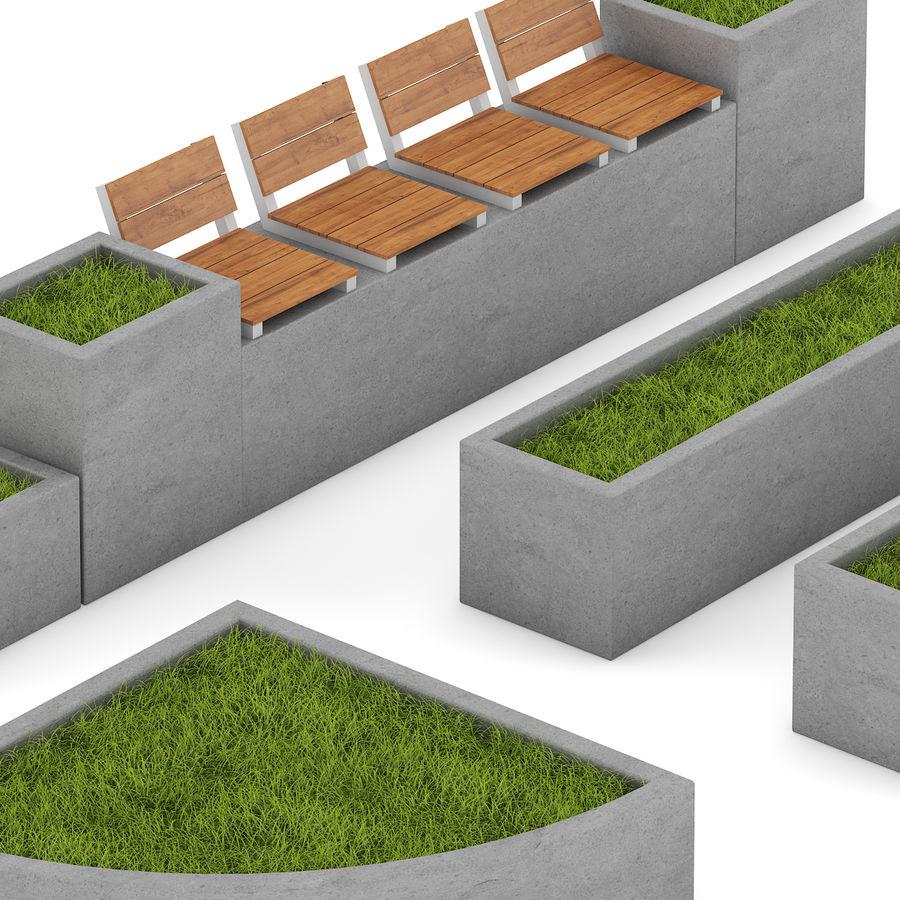 Park betonnen elementen instellen royalty-free 3d model - Preview no. 5