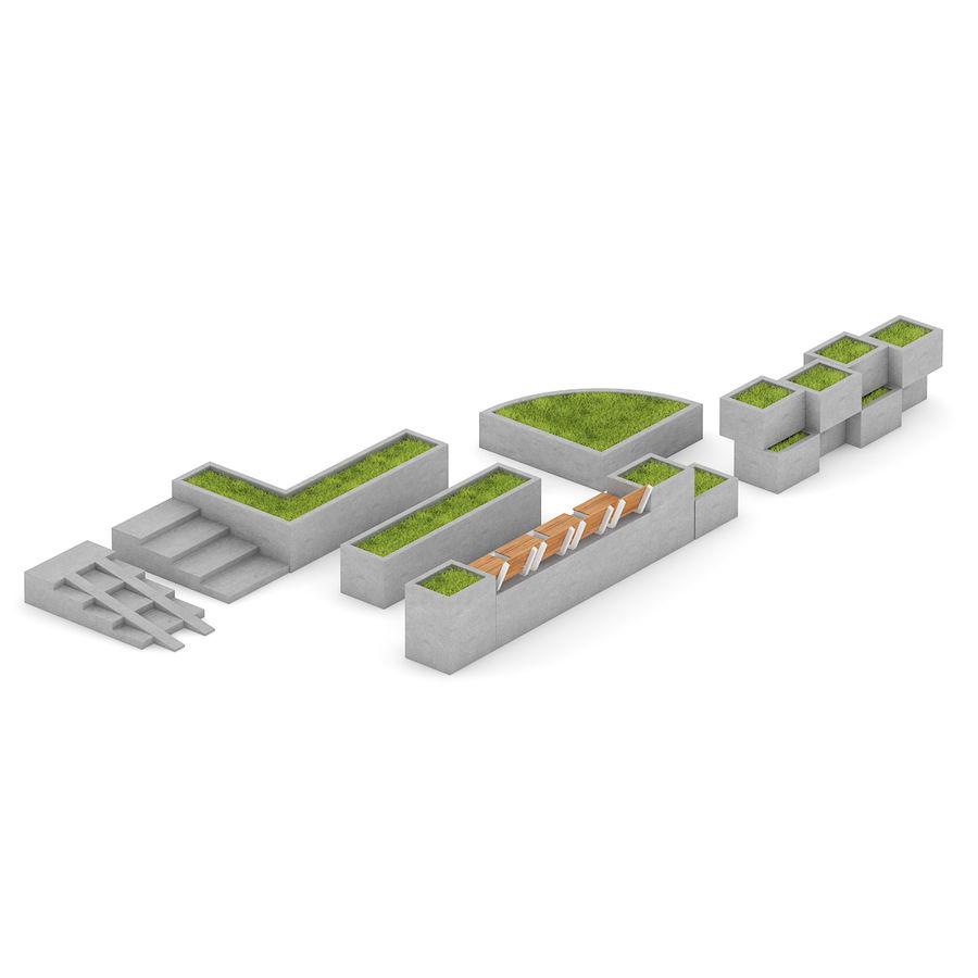 Park betonnen elementen instellen royalty-free 3d model - Preview no. 3