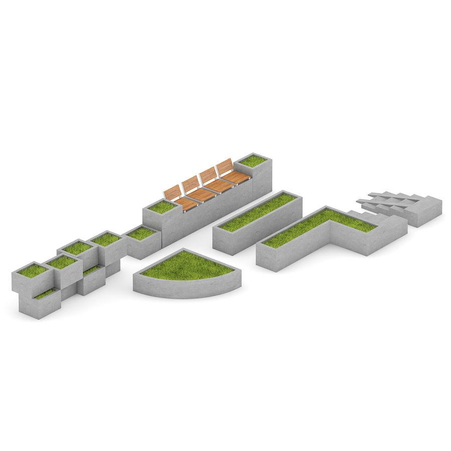 Park betonnen elementen instellen royalty-free 3d model - Preview no. 1