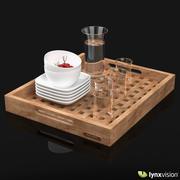 Деревянный поднос с бокалами, кувшином и мисками 3d model