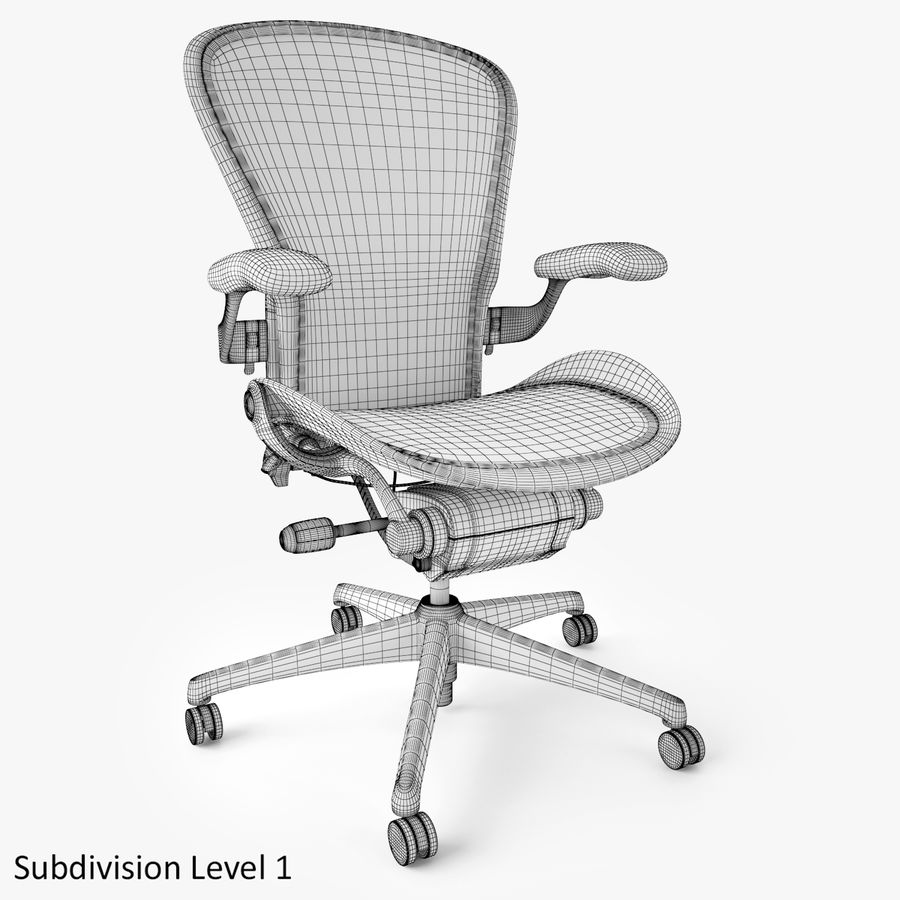 Chaise de bureau Herman Miller Aeron royalty-free 3d model - Preview no. 10