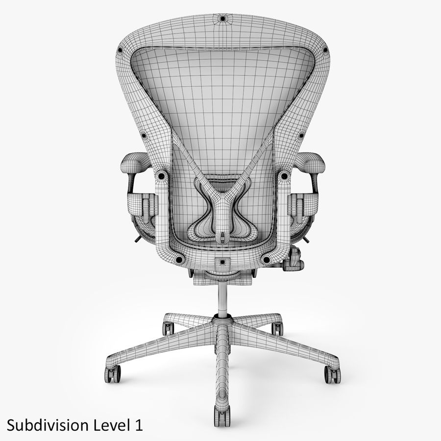 Chaise de bureau Herman Miller Aeron royalty-free 3d model - Preview no. 12