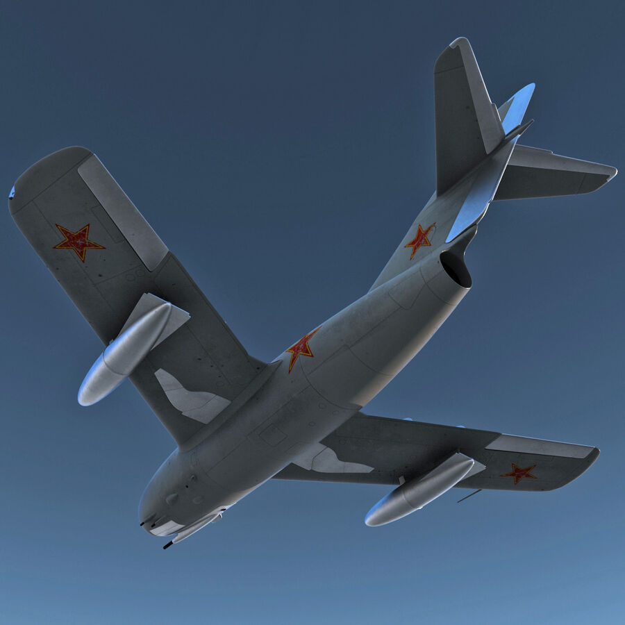 Jet Fighter MiG 15 royalty-free 3d model - Preview no. 7