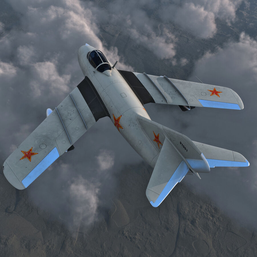 Jet Fighter MiG 15 royalty-free 3d model - Preview no. 3