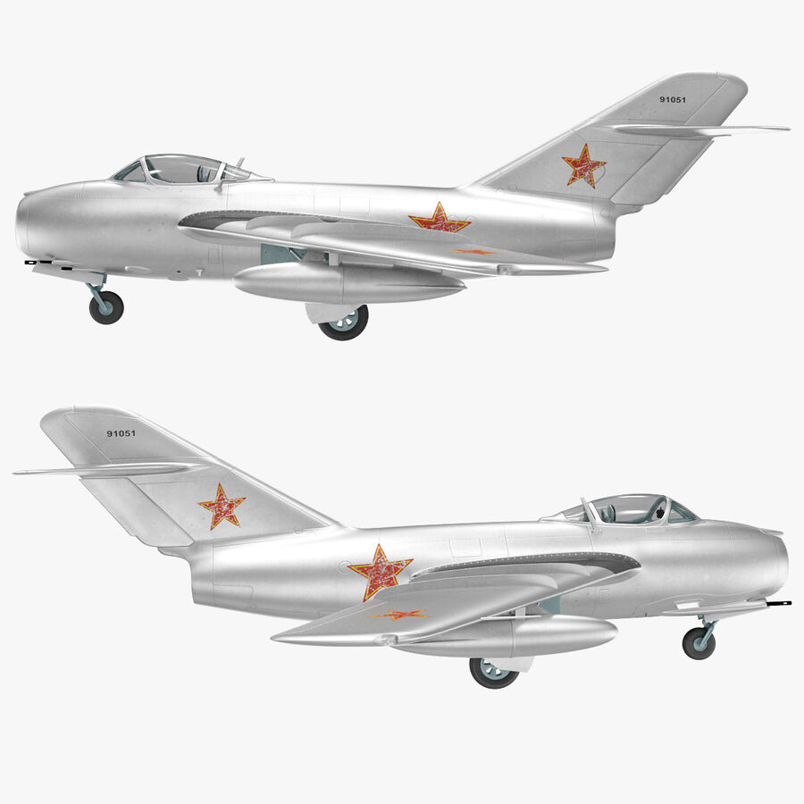 Jet Fighter MiG 15 royalty-free 3d model - Preview no. 72