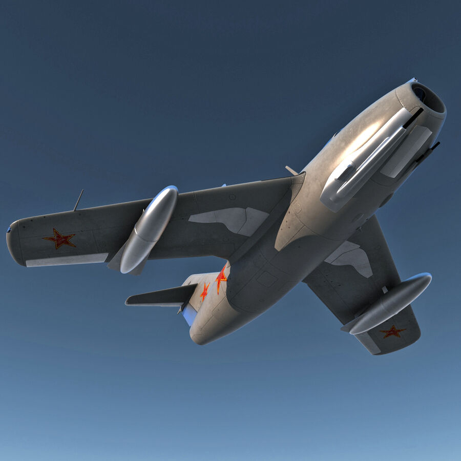 Jet Fighter MiG 15 royalty-free 3d model - Preview no. 9