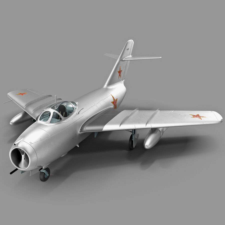 Jet Fighter MiG 15 royalty-free 3d model - Preview no. 2