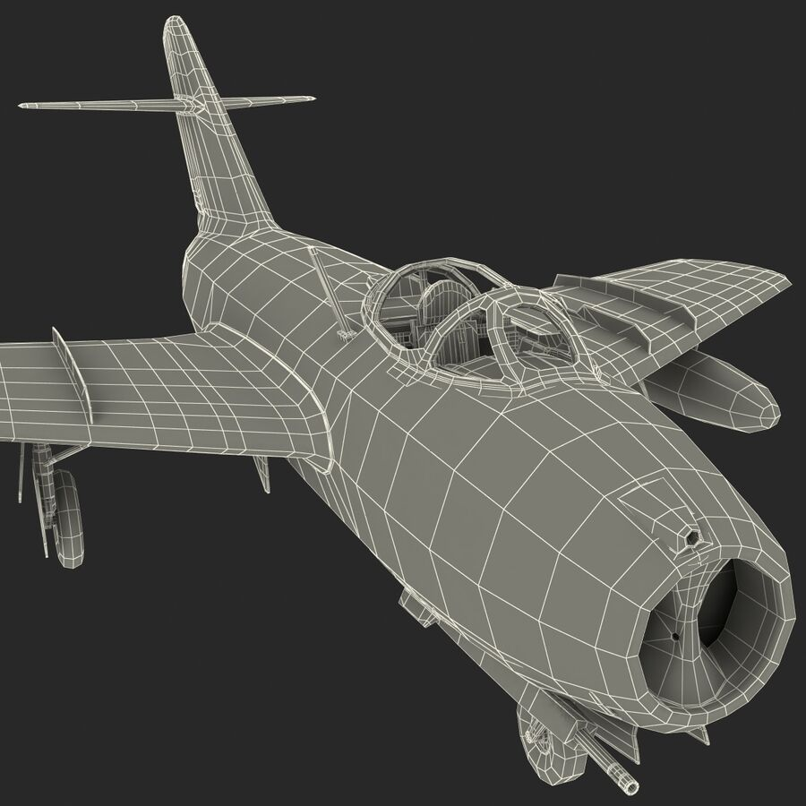 Jet Fighter MiG 15 royalty-free 3d model - Preview no. 91