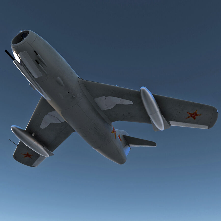 Jet Fighter MiG 15 royalty-free 3d model - Preview no. 8