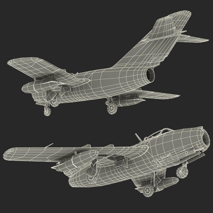 Jet Fighter MiG 15 royalty-free 3d model - Preview no. 108