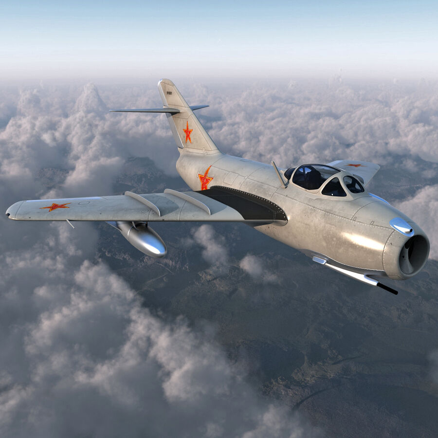 Jet Fighter MiG 15 royalty-free 3d model - Preview no. 5