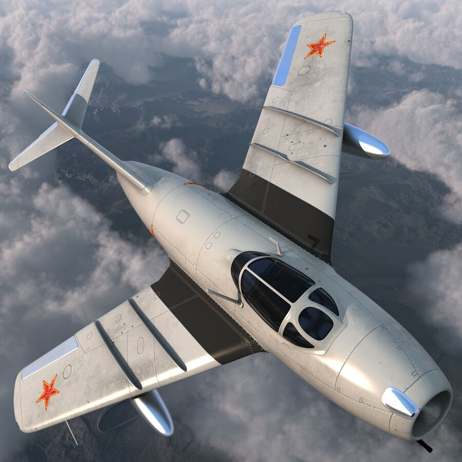 Jet Fighter MiG 15 royalty-free 3d model - Preview no. 13