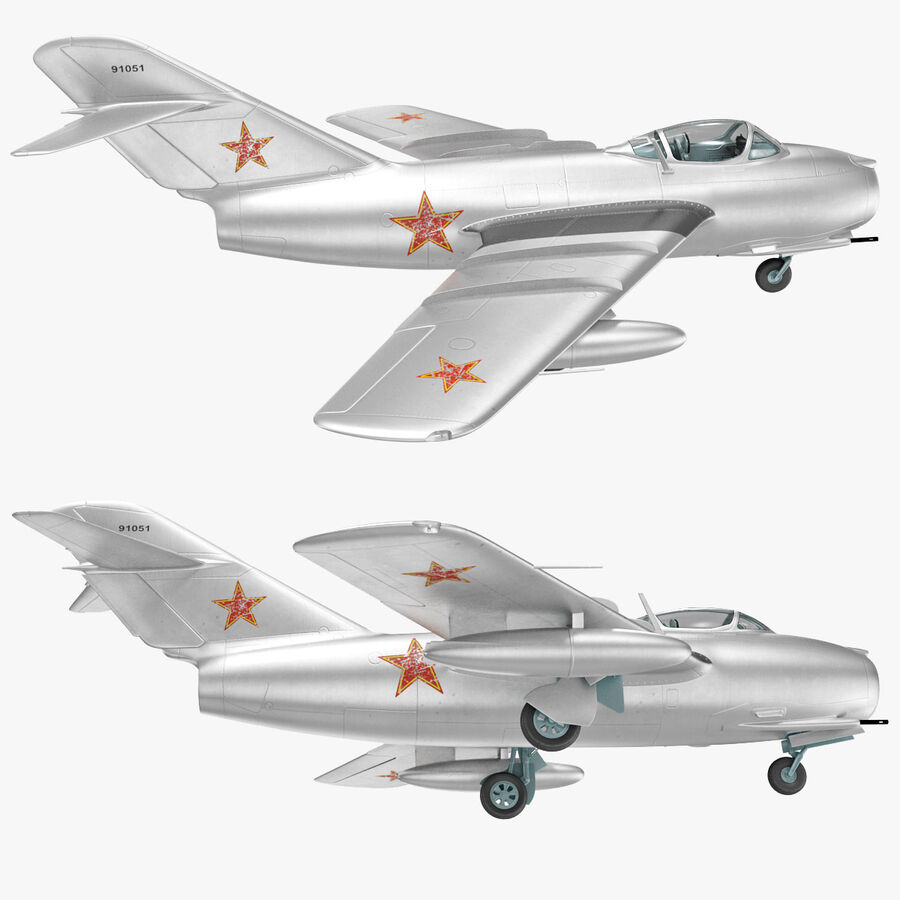Jet Fighter MiG 15 royalty-free 3d model - Preview no. 74