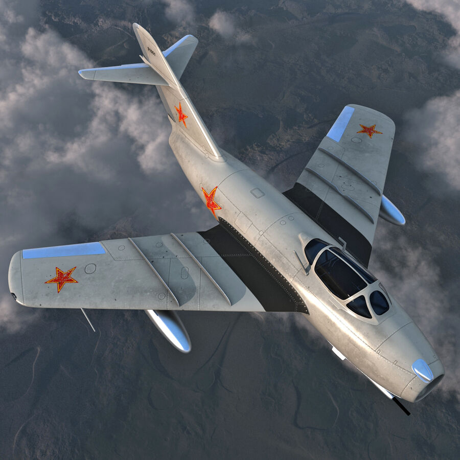 Jet Fighter MiG 15 royalty-free 3d model - Preview no. 4