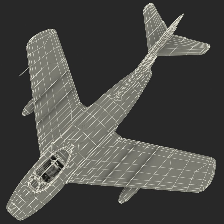 Jet Fighter MiG 15 royalty-free 3d model - Preview no. 79