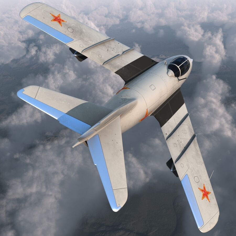 Jet Fighter MiG 15 royalty-free 3d model - Preview no. 14
