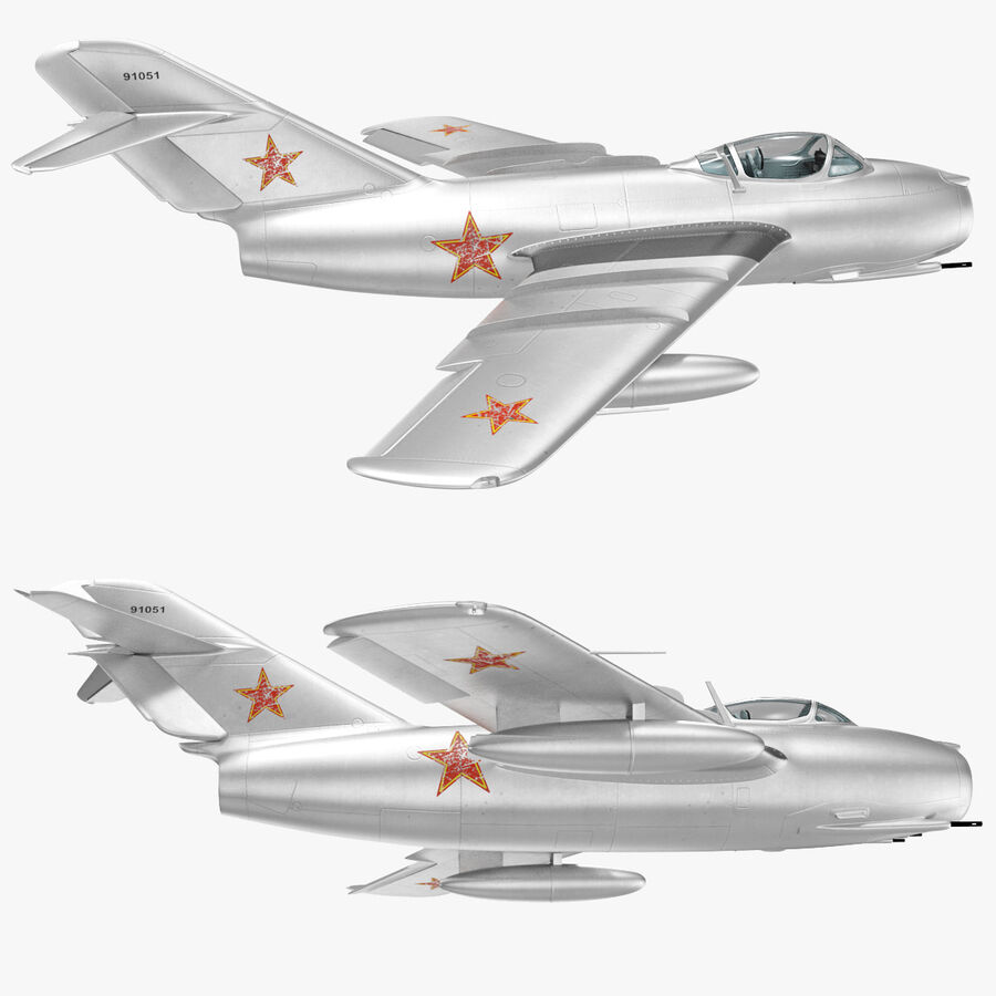 Jet Fighter MiG 15 royalty-free 3d model - Preview no. 75