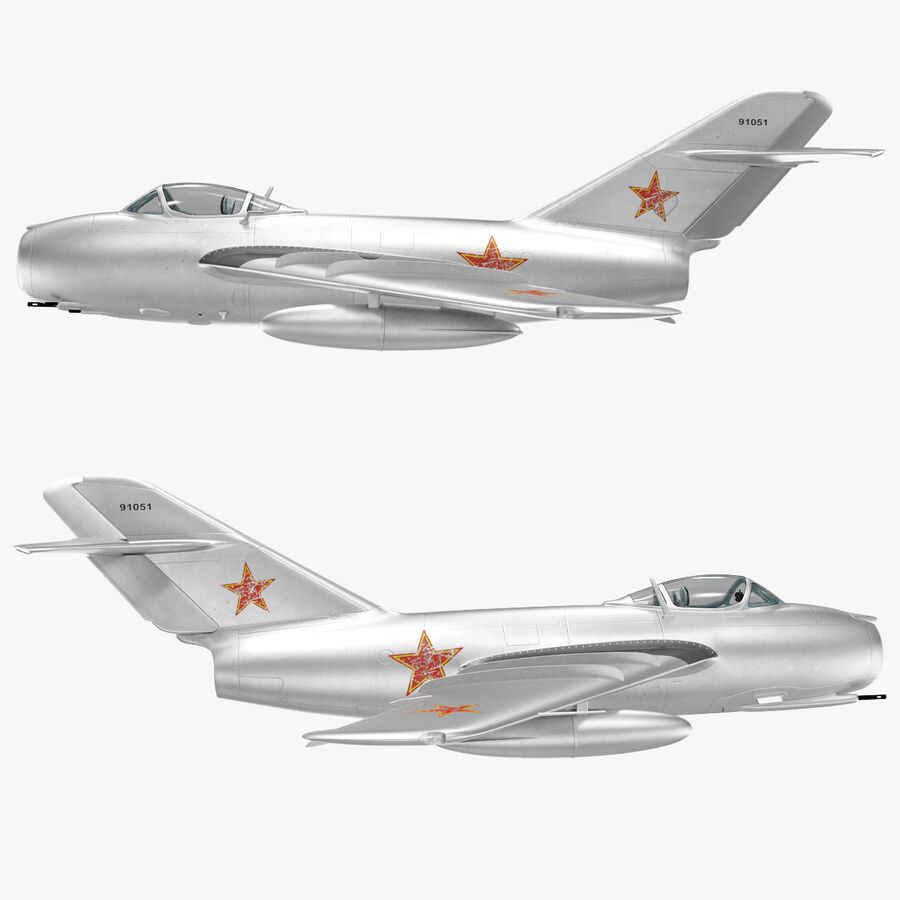 Jet Fighter MiG 15 royalty-free 3d model - Preview no. 73