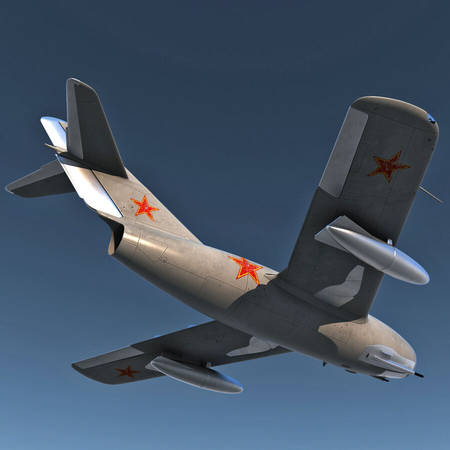 Jet Fighter MiG 15 royalty-free 3d model - Preview no. 10
