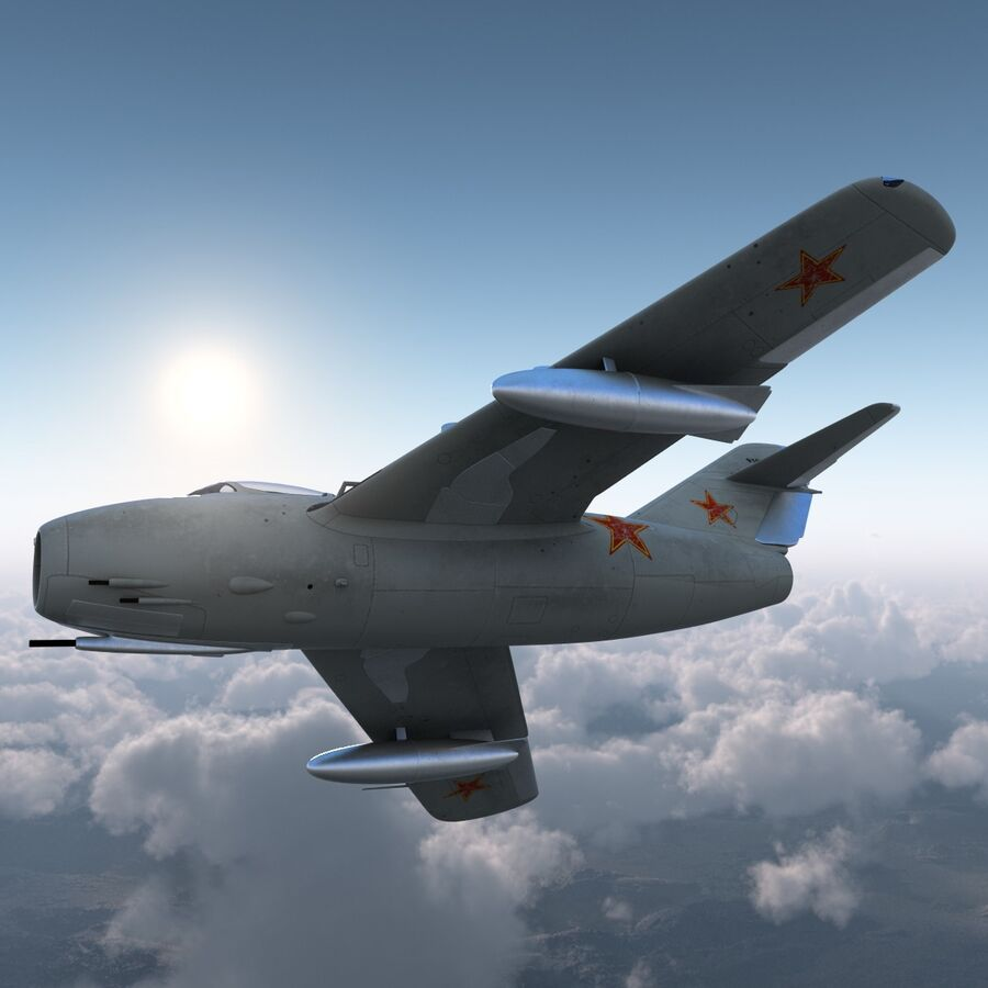 Jet Fighter MiG 15 royalty-free 3d model - Preview no. 15
