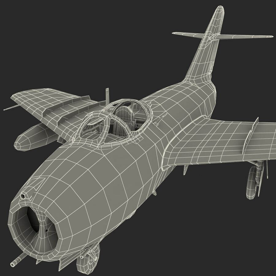 Jet Fighter MiG 15 royalty-free 3d model - Preview no. 92