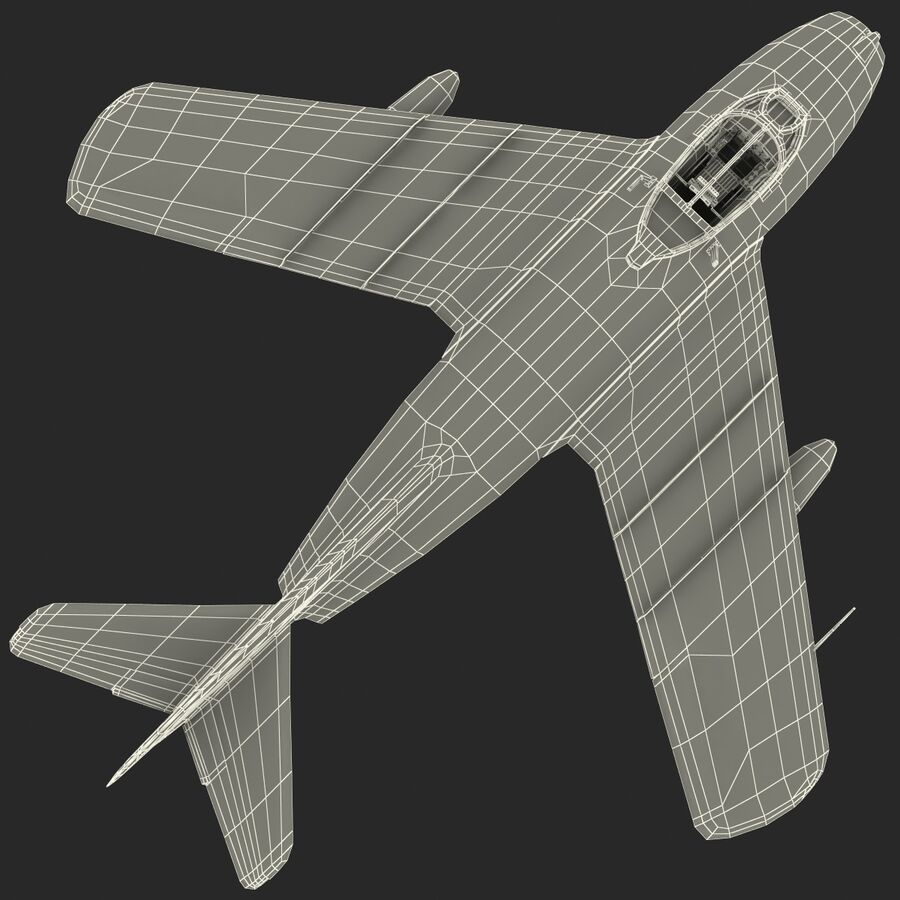 Jet Fighter MiG 15 royalty-free 3d model - Preview no. 80