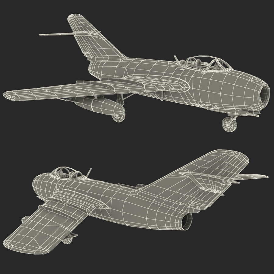 Jet Fighter MiG 15 royalty-free 3d model - Preview no. 107