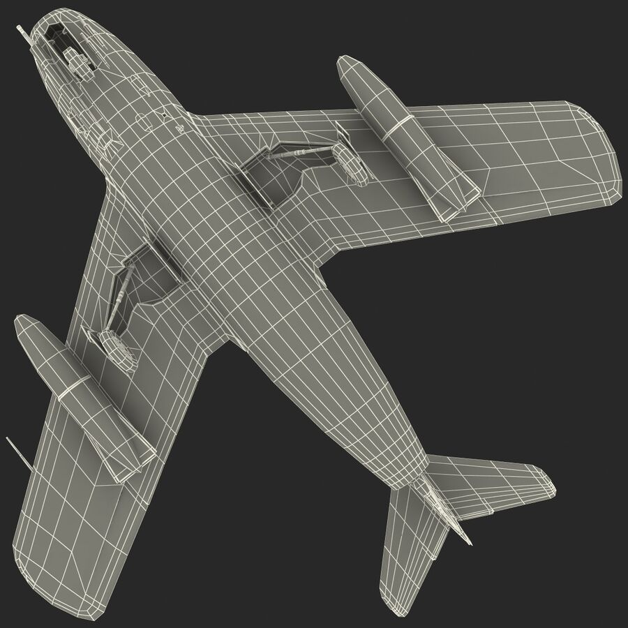 Jet Fighter MiG 15 royalty-free 3d model - Preview no. 81
