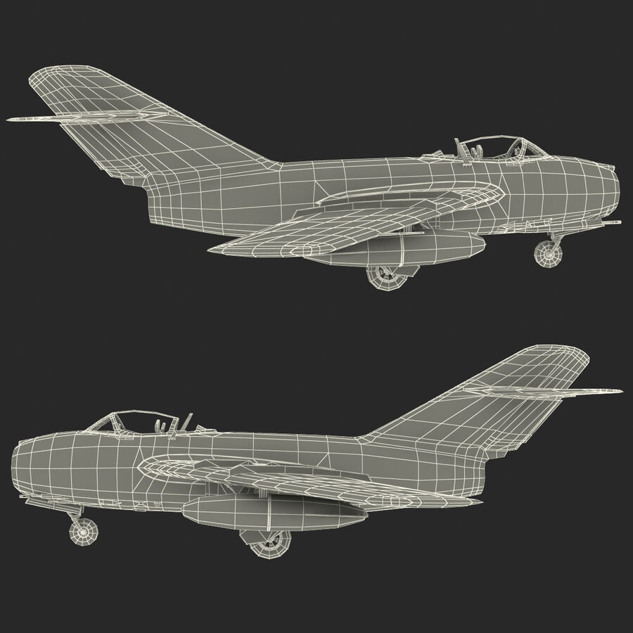 Jet Fighter MiG 15 royalty-free 3d model - Preview no. 104