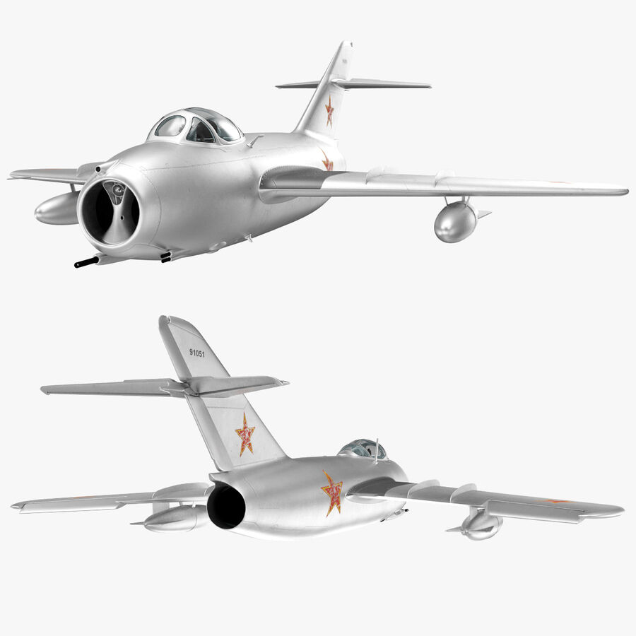 Jet Fighter MiG 15 royalty-free 3d model - Preview no. 78