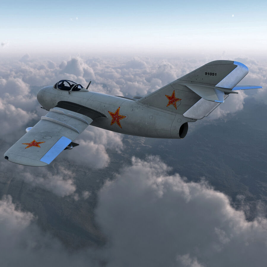 Jet Fighter MiG 15 royalty-free 3d model - Preview no. 6