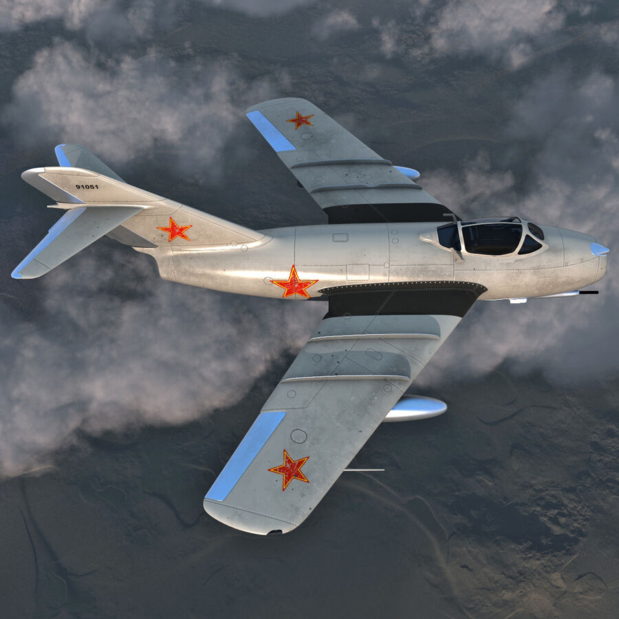 Jet Fighter MiG 15 royalty-free 3d model - Preview no. 11