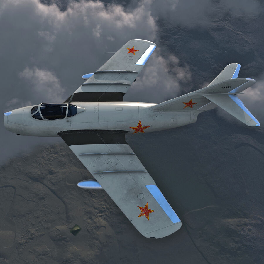 Jet Fighter MiG 15 royalty-free 3d model - Preview no. 12
