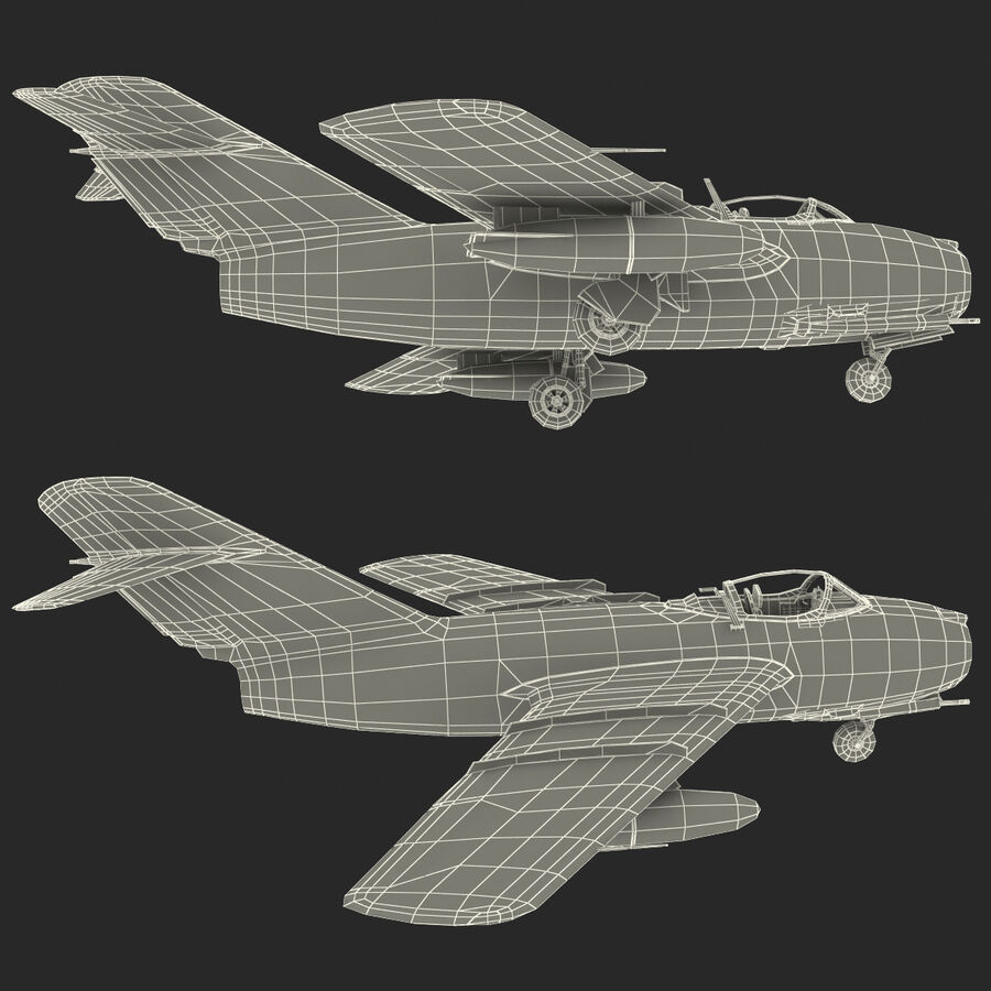 Jet Fighter MiG 15 royalty-free 3d model - Preview no. 105