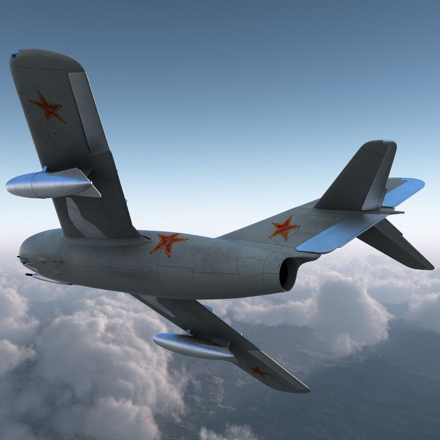 Jet Fighter MiG 15 royalty-free 3d model - Preview no. 16