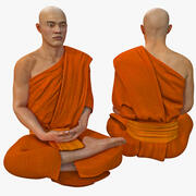 Buddhist Monk Seated Meditation Pose 3d model
