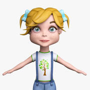 Cartoon girl Mia denim 3d model