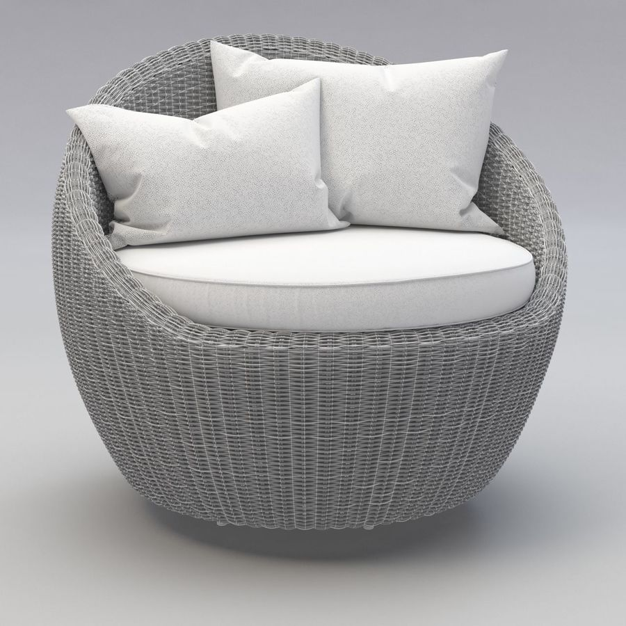Luna Patio Rattan Chair royalty-free 3d model - Preview no. 7