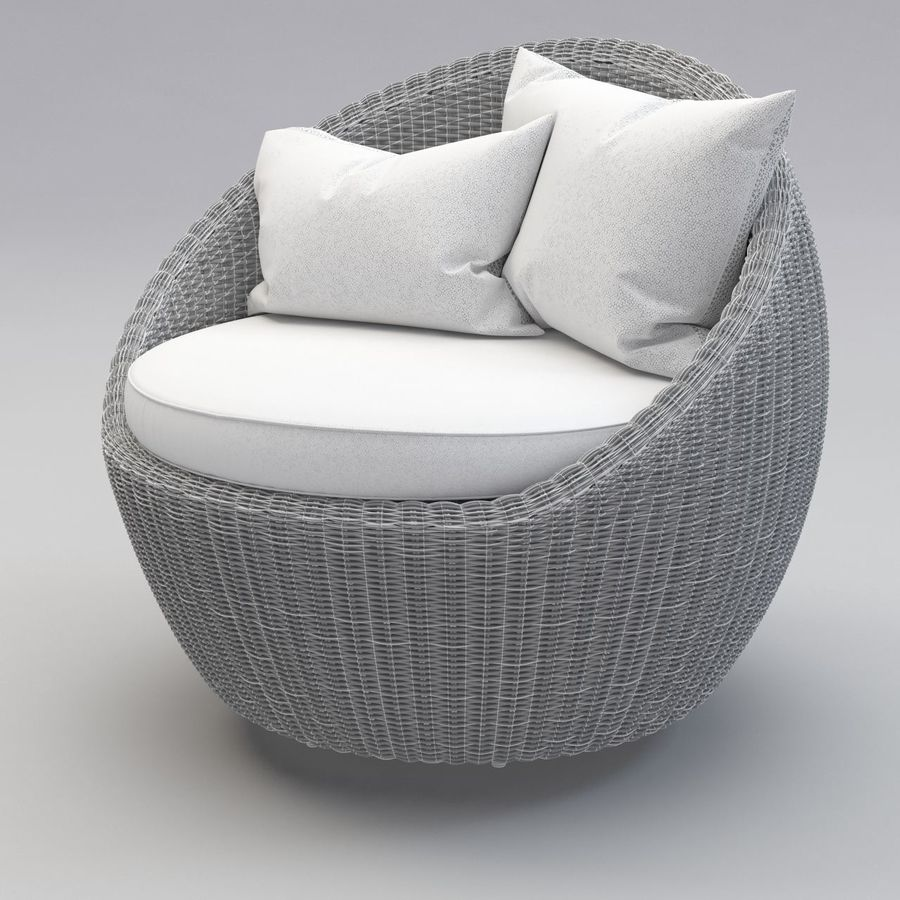 Luna Patio Rattan Chair royalty-free 3d model - Preview no. 8