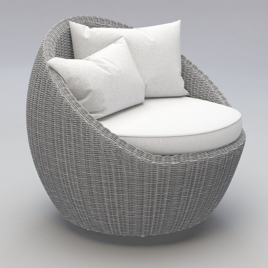 Luna Patio Rattan Chair royalty-free 3d model - Preview no. 5