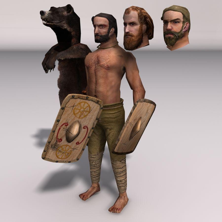 Düşük Poli Bear savaşçısı royalty-free 3d model - Preview no. 5
