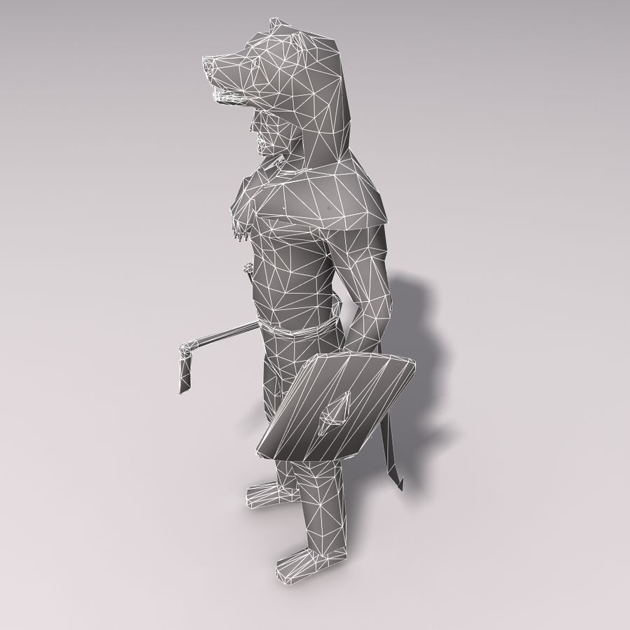 Düşük Poli Bear savaşçısı royalty-free 3d model - Preview no. 9