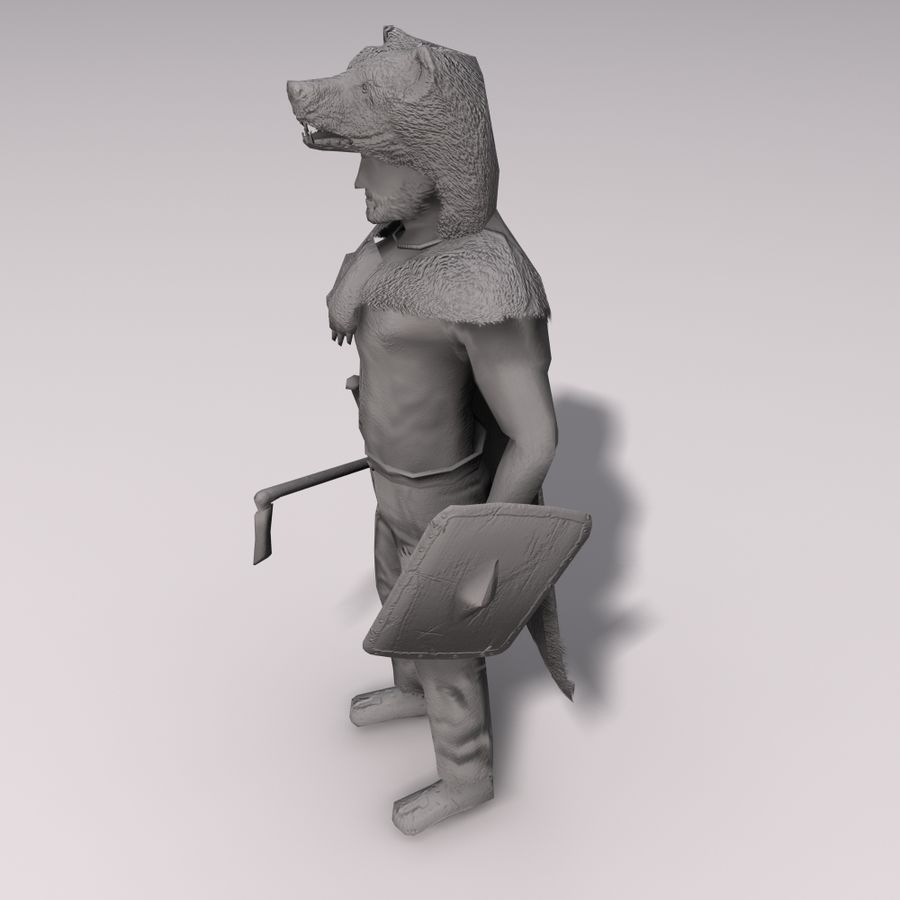 Düşük Poli Bear savaşçısı royalty-free 3d model - Preview no. 8